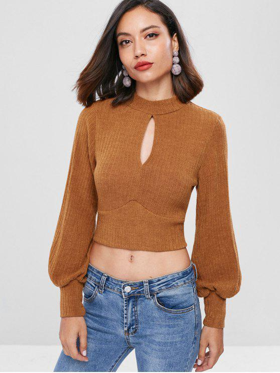 1235770c5 61% OFF  2019 Ribbed Tie Back Keyhole Cropped Sweater In CHOCOLATE ...