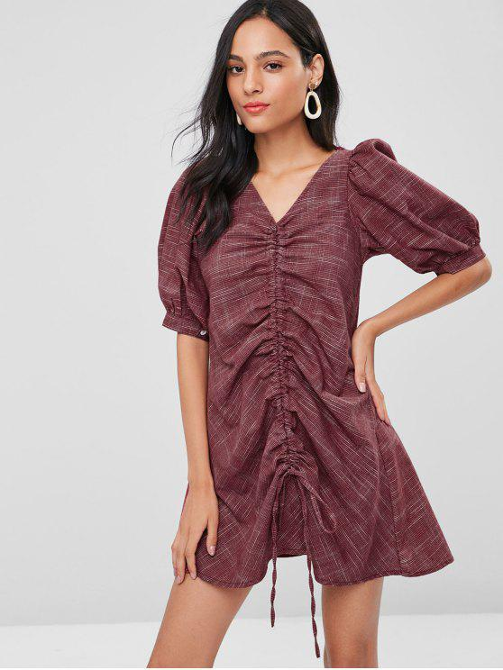 hot Cinched Puff Sleeves Gingham Dress - RED WINE ONE SIZE