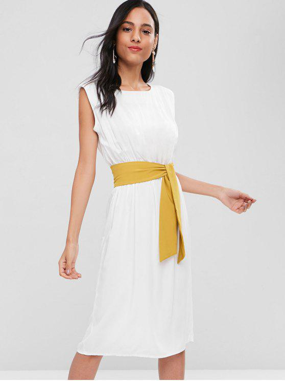 outfit Belted Sleeveless Mid Calf Dress - WHITE ONE SIZE