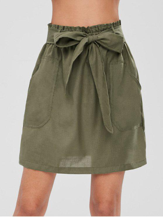 trendy Mini Pocket Belted Skirt - ARMY GREEN L