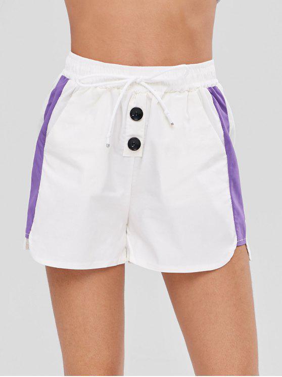 women's Color Block Drawstring Shorts - WHITE S