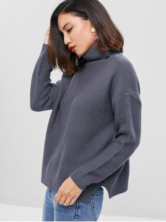 outfits Drop Shoulder Turtleneck Chunky Sweater - DARK GRAY ONE SIZE