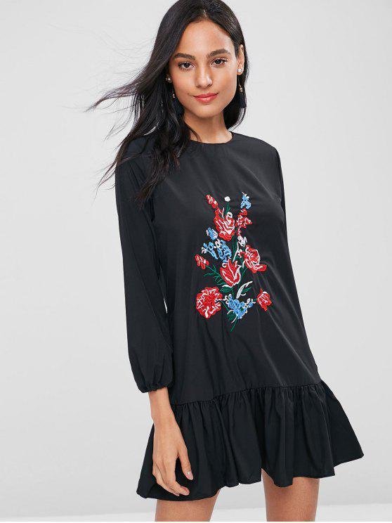 Blumen Besticktes Tunika Kleid - Schwarz XL