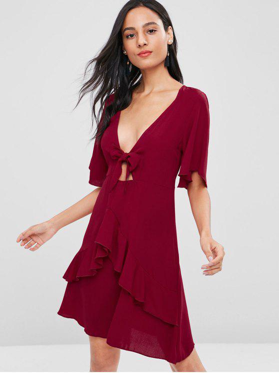 Schleife Tiefer Rüschen Kleid - Kastanie Rot M
