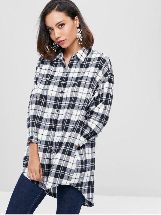 shops Checked Long Flannel Oversized Shirt - BLACK M