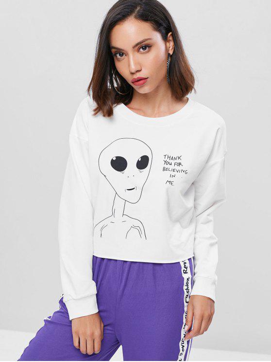 Sweat-shirt Graphique Extraterrestre Imprimé à Ourlet Brut - Blanc L