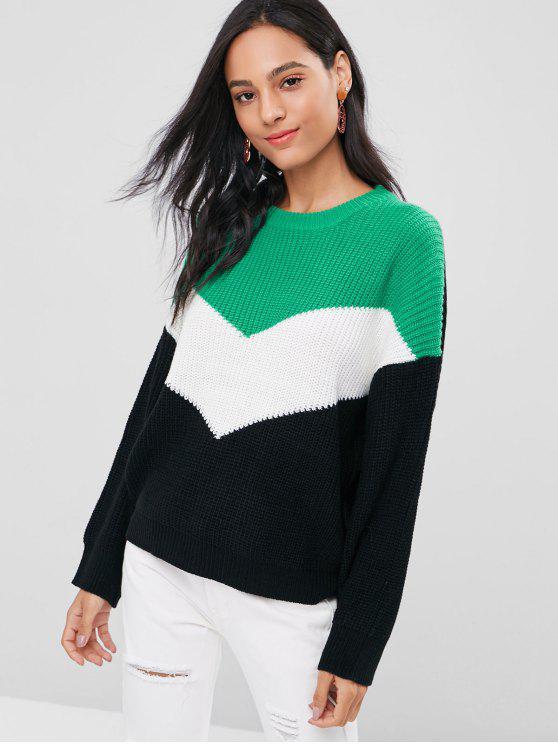 unique Color Block Drop Shoulder Sweater - MULTI ONE SIZE