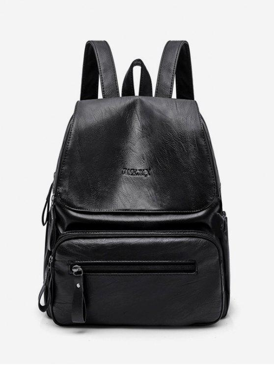 Functional Flap Pu Leather School Backpack   Black by Zaful