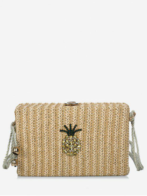Rope Strap Crystals Pineapple Sling Bag - Caqui Claro