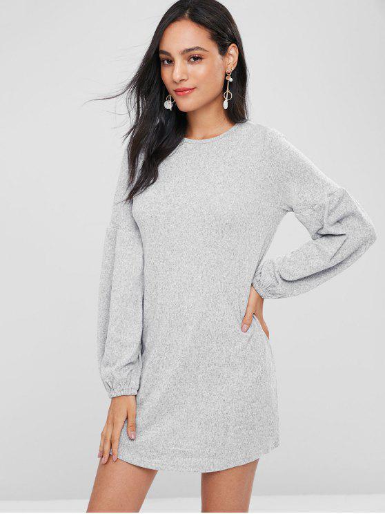 shops Lantern Sleeve Mini Shift Casual Dress - LIGHT GRAY M