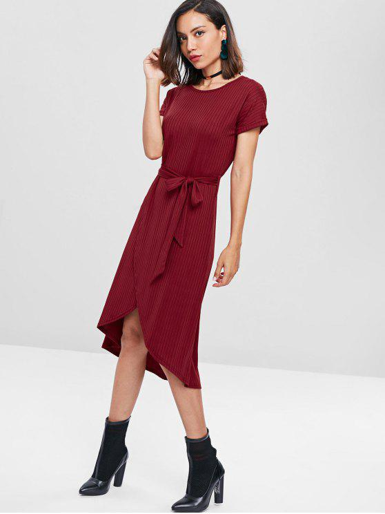 fancy Ribbed Belted Tulip Dress - RED WINE M