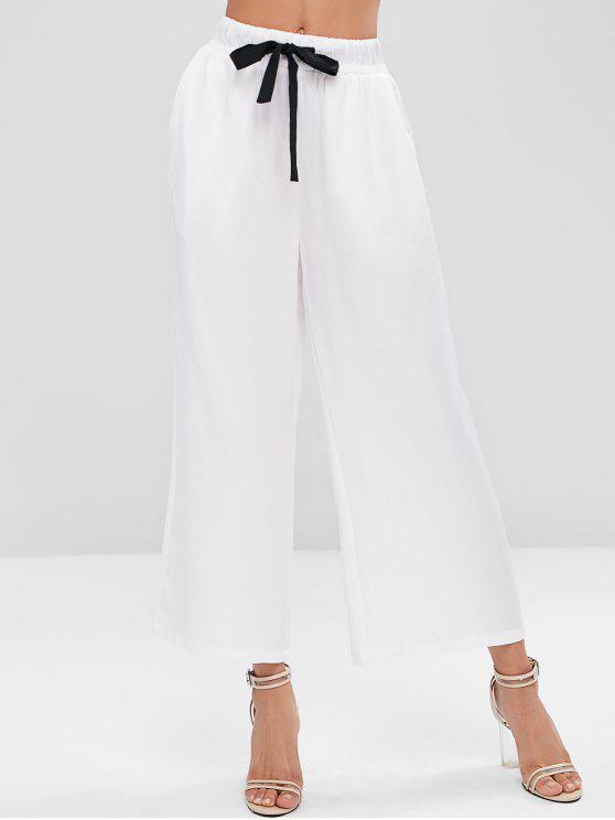 women Contrast Drawstring Pockets Wide Leg Pants - WHITE M