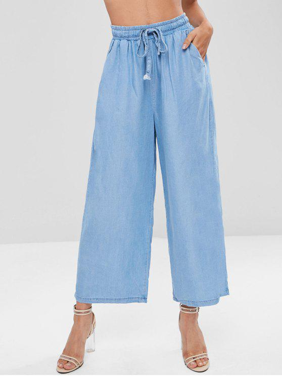 Pantaloni Larghi A Vita Alta - Blu Mite XL