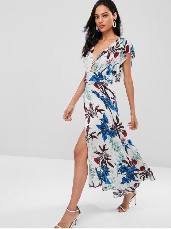 Vestido largo de encaje con hendidura floral Plunge - Multicolor XL