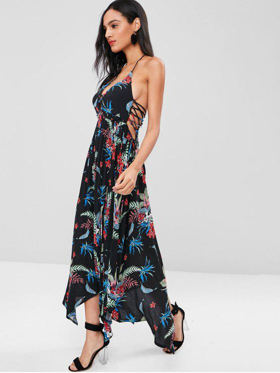 كريسس الصليب الاستوائية طباعة الرسن فستان ماكسي - أسود XL
