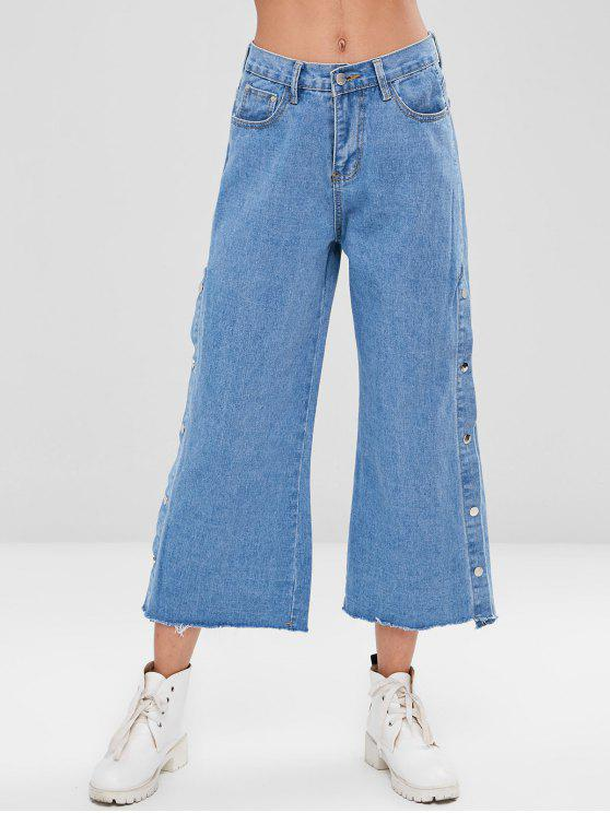 Snap Buttons Feathered Hem Jeans - ازرق L