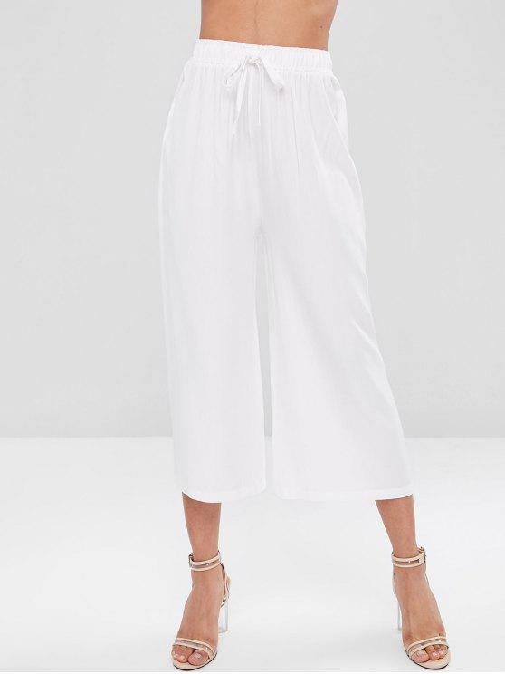 affordable Wide Leg High Waisted Culottes Pants - WHITE M