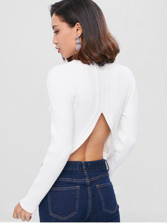 Cortar Camisola Lisa com nervuras - Branco Tamanho único