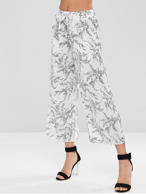 outfit Drawstring Wide Leg Pants - WHITE L