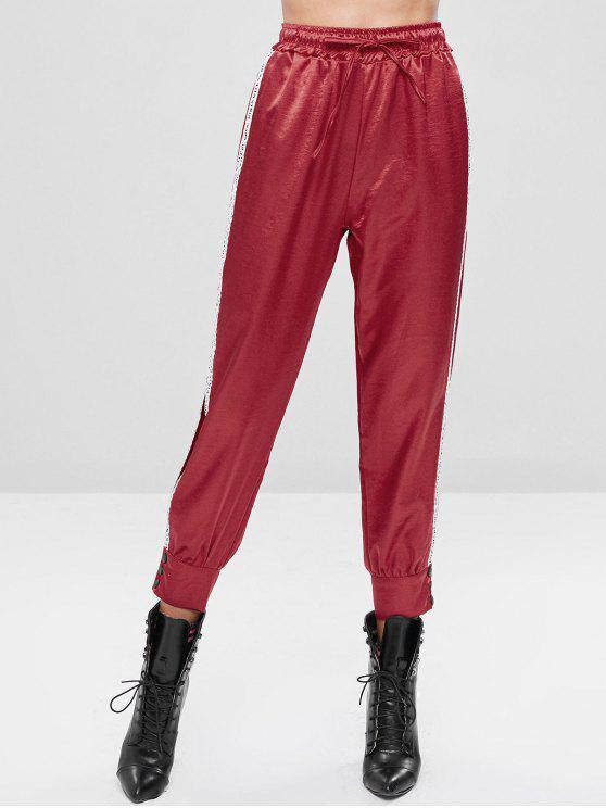 outfits Drawstring Letter Button Embellished Pants - CHESTNUT RED M