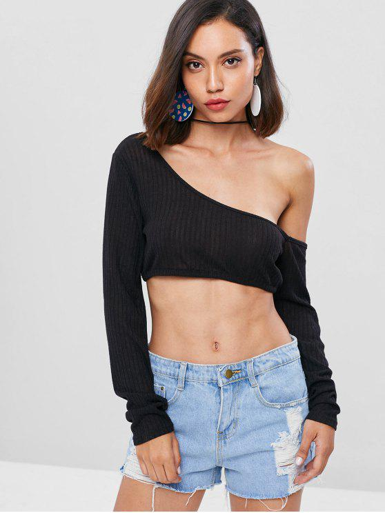 0ffc18b6790f5f 43% OFF] 2019 Cropped One Shoulder Top In BLACK | ZAFUL Australia