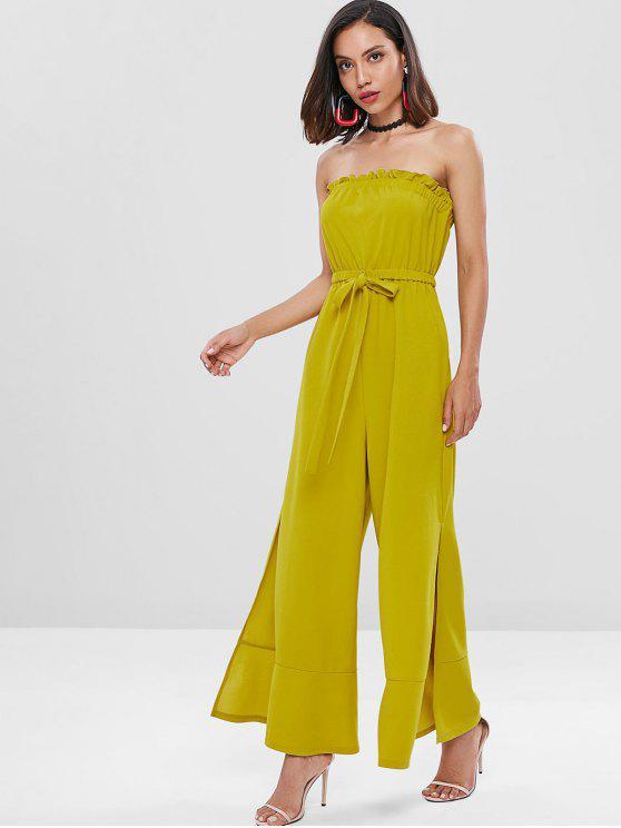 shops Ruffles Slit Strapless Jumpsuit - FALL LEAF BROWN L