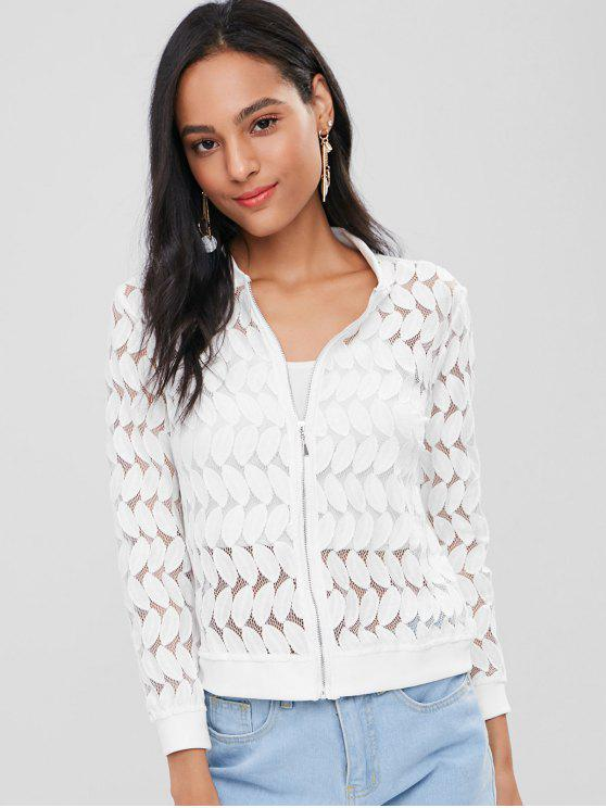 Sheer Crochet Lace Feuille Bomber Jacket - Blanc M