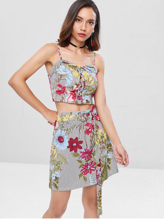 best Lace Up Floral Stripes Skirt Set - MULTI M