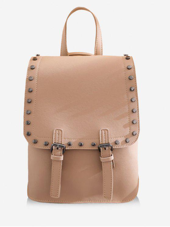 latest Chic Studded Convertible Backpack - LIGHT KHAKI VERTICAL
