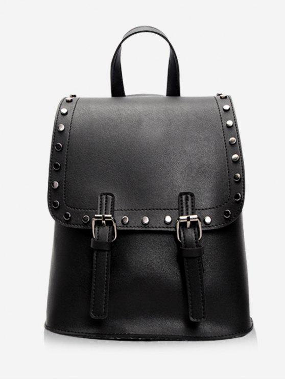fancy Chic Studded Convertible Backpack - BLACK VERTICAL