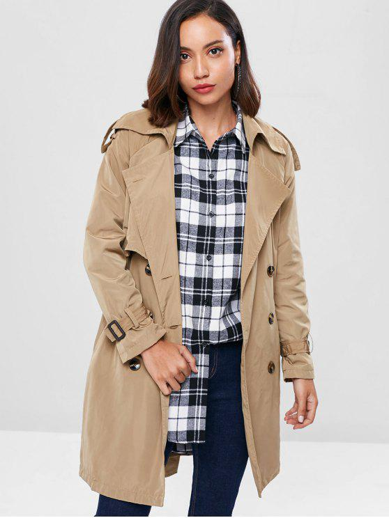 women Lightweight Double Breasted Trench Coat - LIGHT KHAKI L