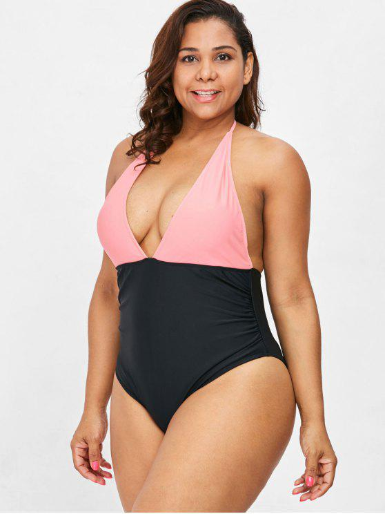 trendy Two Tone Plus Size Halter Swimsuit - ORANGE PINK 3X