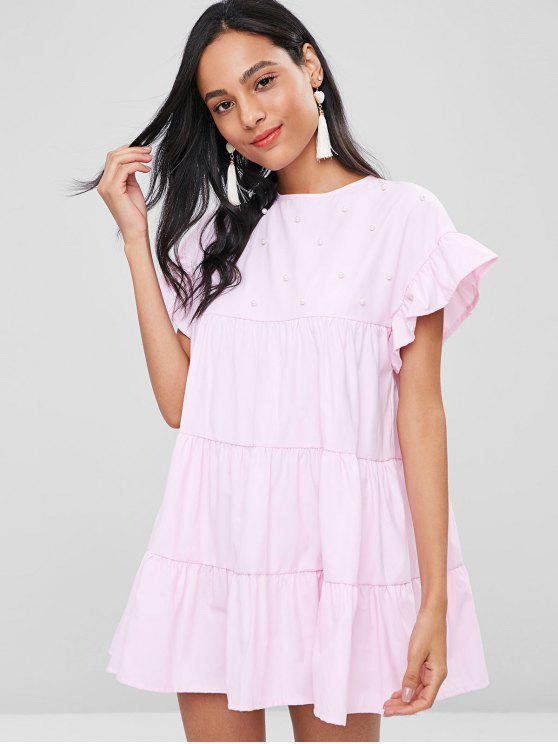 Faux Pearls Ruffles Casual Dress - Cerdo Rosa L