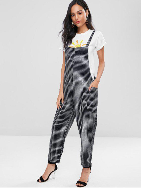 women's Plaid Overalls - BLACK XL