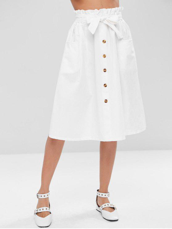shop Buttoned A Line Skirt - WHITE ONE SIZE