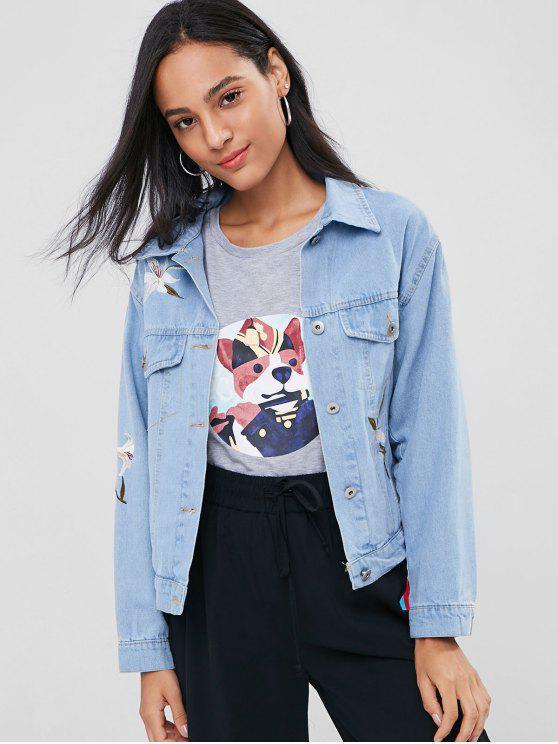 buy Floral Embroidered Buttoned Denim Jacket - JEANS BLUE M