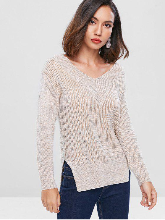 shop Drop Shoulder High Low Sweater - TAN ONE SIZE