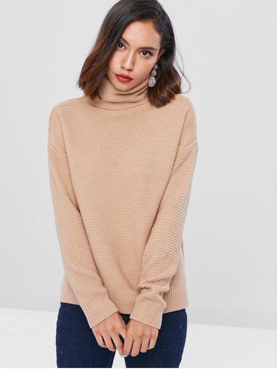 hot Drop Shoulder Turtleneck Chunky Sweater - LIGHT KHAKI ONE SIZE