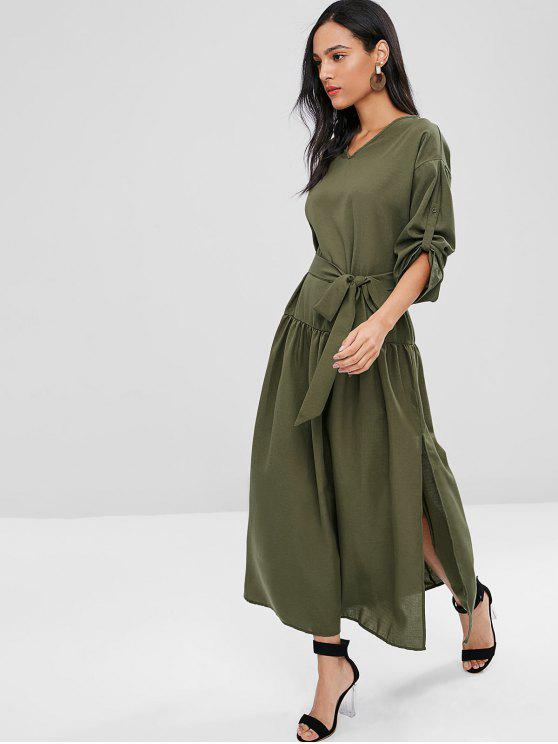 best Long Sleeve Maxi Slit Belted Dress - ARMY GREEN M