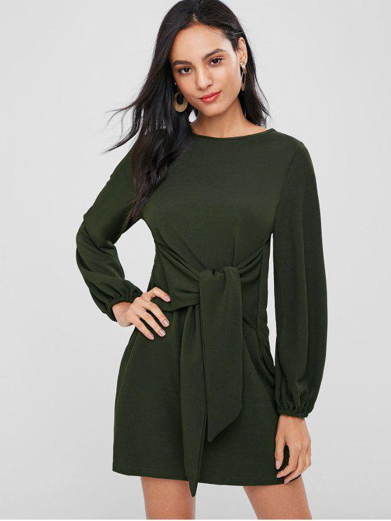 hot Long Sleeve Tie Shift Knit Dress - DARK FOREST GREEN M