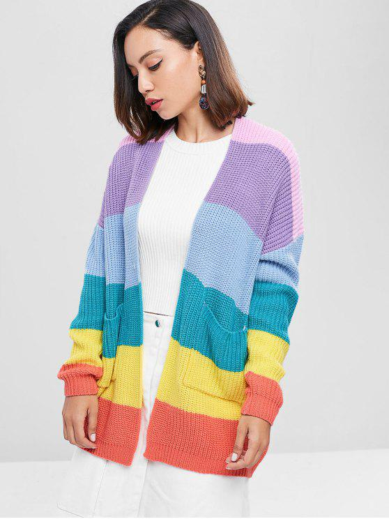 hot Drop Shoulder Color Block Tunic Cardigan - MULTI XL