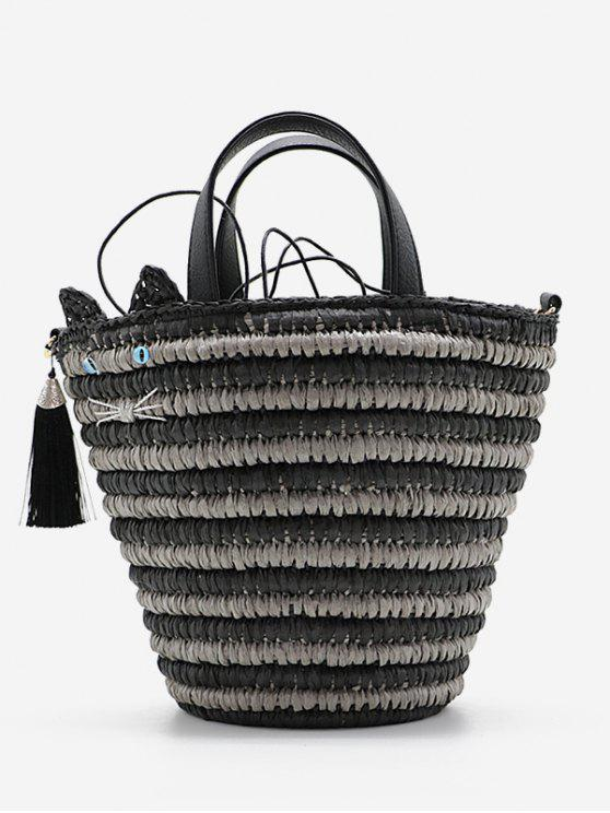 trendy Cat Tassels Woven String Tote Bag - BLACK