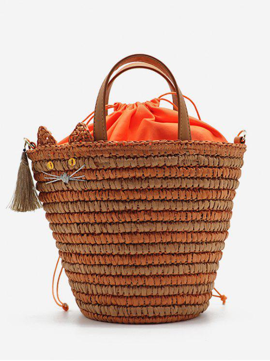 Katze Quasten Woven String Tote Bag - Kürbis Orange