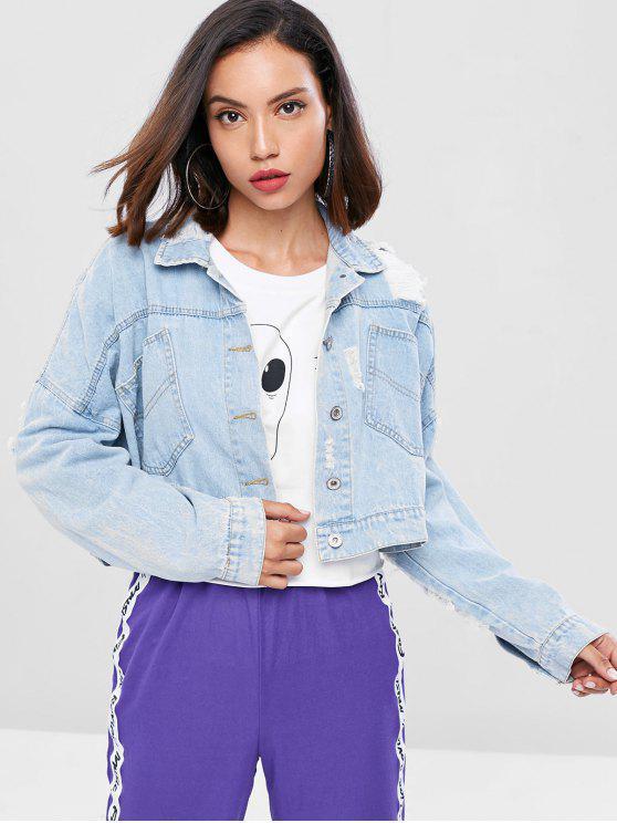 shop Distressed Cropped Denim Jacket - POWDER BLUE S