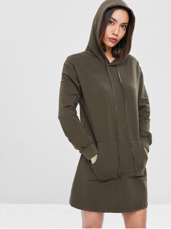 trendy Kangaroo Pocket Hoodie Dress - DARK KHAKI M