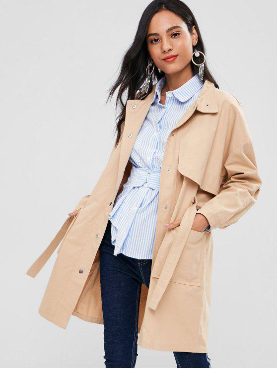 womens Snap Button Belted Trench Coat - LIGHT KHAKI S