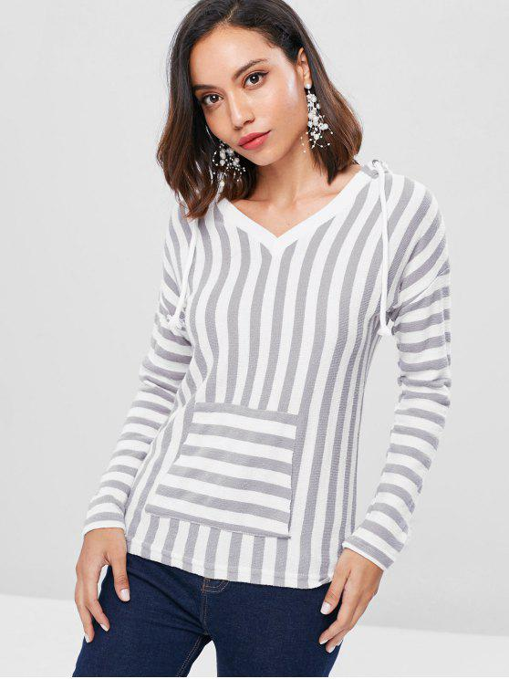 fancy Dropped Shoulder Striped Pullover Hoodie - MULTI S