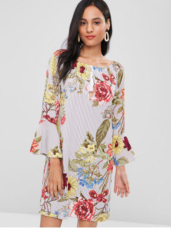 womens Flare Sleeve Stripes Floral Dress - MULTI M