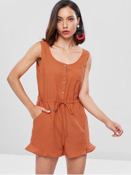 sale Half Button Pockets Sleeveless Romper - CHOCOLATE M