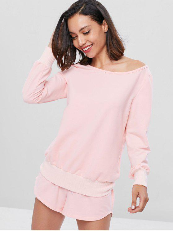 chic Skew Neck Top and Shorts Set - LIGHT PINK S